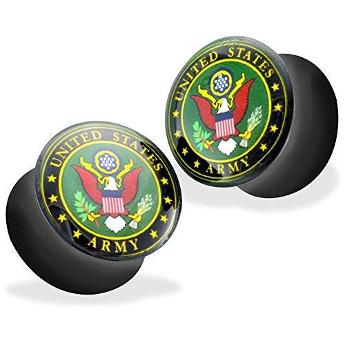 Logo Saddle Plug - Pair Of US Military Logo Print Inlayed Black Acrylic Saddle Plugs, Gauge: 00 (10Mm), A - US Army