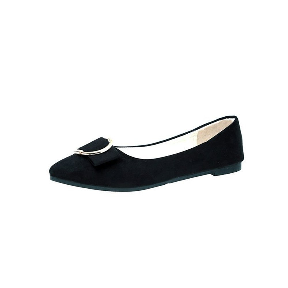 Nevera Ladies Comfortable Classic Flats Women's Bow Slip On Ballet Flats Dress Shoes Black