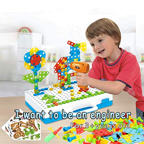 IMYMAX 212 Pieces Electric DIY Drill Puzzle Set, STEM Educational Learning Toys, 8 Pcs Cute Animal Pictures, 3D Construction Engineering Building Blocks for Boys and Girls Ages 3-8 Year Old