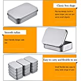 Shappy 12 Pack 3.75 by 2.45 by 0.8 Inch Silver Metal Rectangular Empty Hinged Tins Box Containers Mini Portable Box Small Storage Kit, Home Organizer
