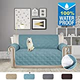 H.VERSAILTEX 100% Waterproof Plush Furniture Protector Slipcovers for Dogs Cats Stay in Place 75 inch X 98 inch (Oversized Love Seat - Smoke Blue)
