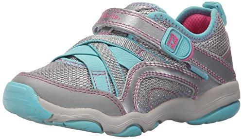 Stride Rite Made 2 Play Serena Sneaker (Toddler/Little Kid), Silver/Blue, 1 M US Little Kid (Rite Shoes Stride Tennis)