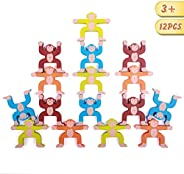 Spiekind Wooden Monkey Balancing Blocks 16 Pcs Interlock Stacking Games for Toddlers Educational Gift for Age