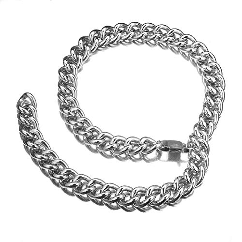 (W/W Lifetime Mens Womens Stainless Steel Cuban Link Hip Hop Rapper Choker Chain Sexual Silver Curb Necklace)