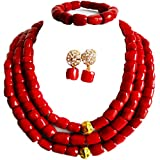 laanc 3 Rows Nigerian Wedding Coral Necklace Earrings Bracelet African Beads Jewelery Bride Jewelry Sets (Red)