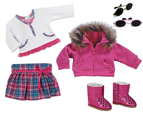 Sherpa Ribbed Sweatshirt (Aqua and Pink Doll Outfit, Sweatshirt and Accessories by Sophia's for 18 Inch Dolls)