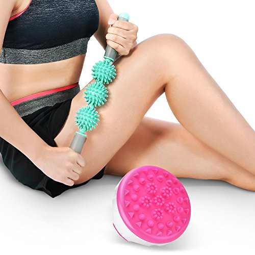 Massage Roller Stick & Cellulite Massager Brush Kit Reducing Muscle Pain, Loosing Tightness,Soothing Cramps for Deep Tissue,Fat and Cellulite Blaster Remover for Men and Women