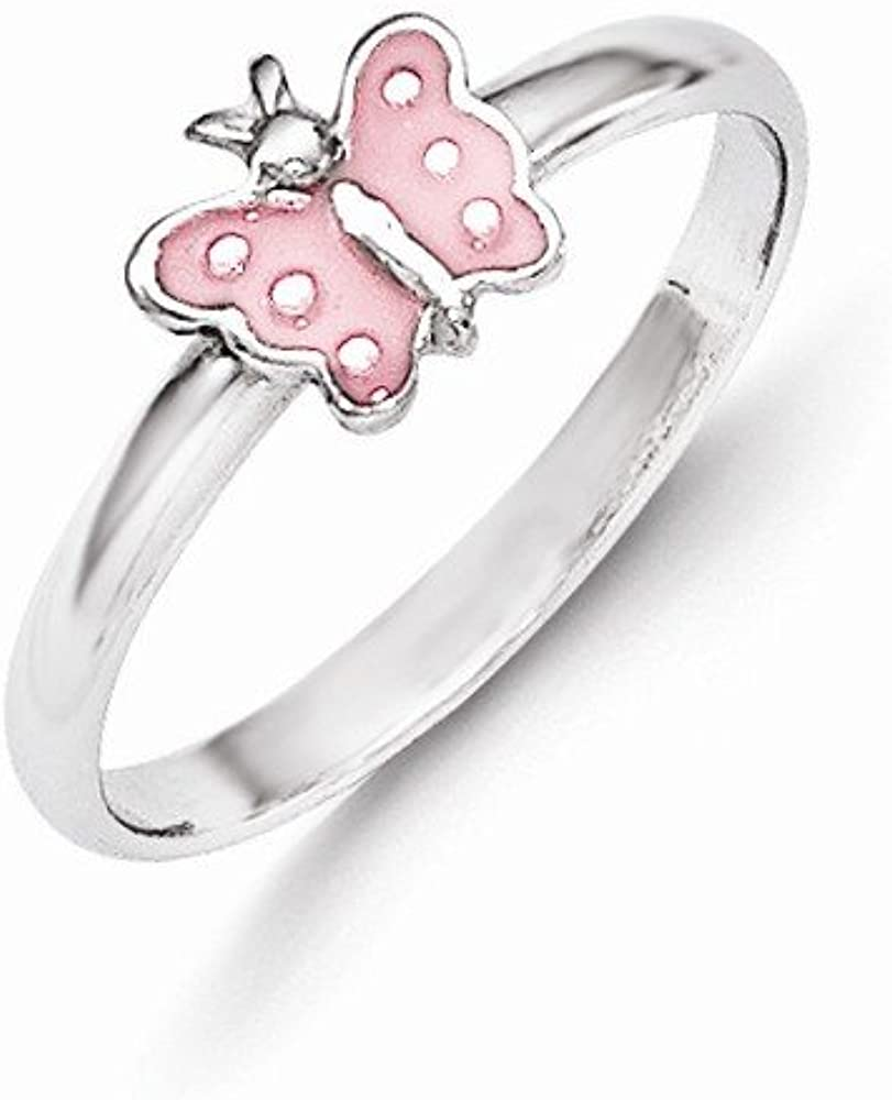 14k.co Sterling Silver RH Plated Childs Pink Enameled Butterfly Ring