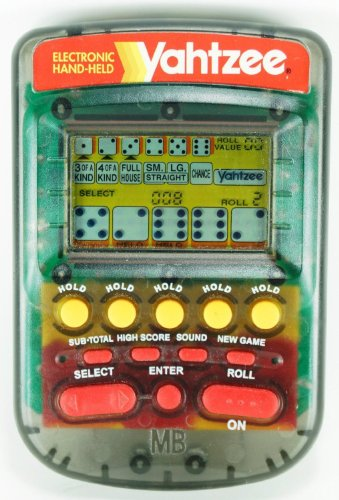 YAHTZEE Electronic Handheld Game 1995 CLEAR CASE EDITION (Includes Instructions) by Milton Bradley