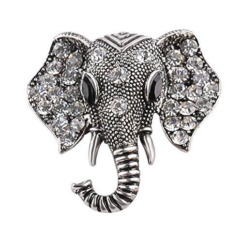AILUOR Retro Elephant Brooch Pins, Fashion Crystal Rhinestone Animal Elephant Head Lapel Pin Suit Corsage Accessories Jewelry Unisex (Old Silver)