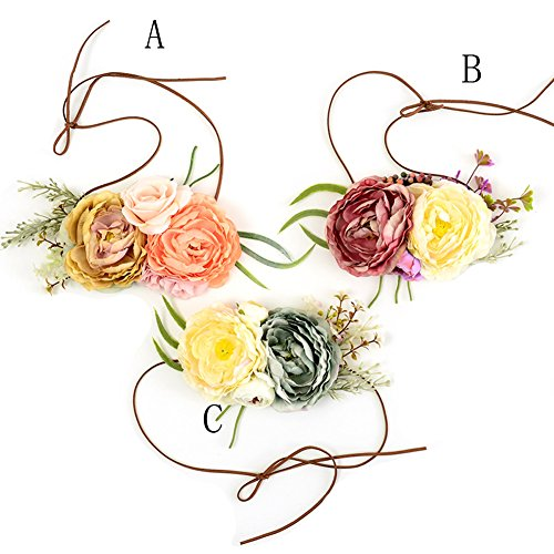 Floral Fall Baby Girls Tieback Flower Crown Headband for Newborn Photo Prop Toddler BY-22 (C)