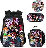 Friday Night Funkin Bag,FnF Boyfriend and Girlfriend 3pcs Set School Bookbag+Lunch Box+Pencil Case for Teenage