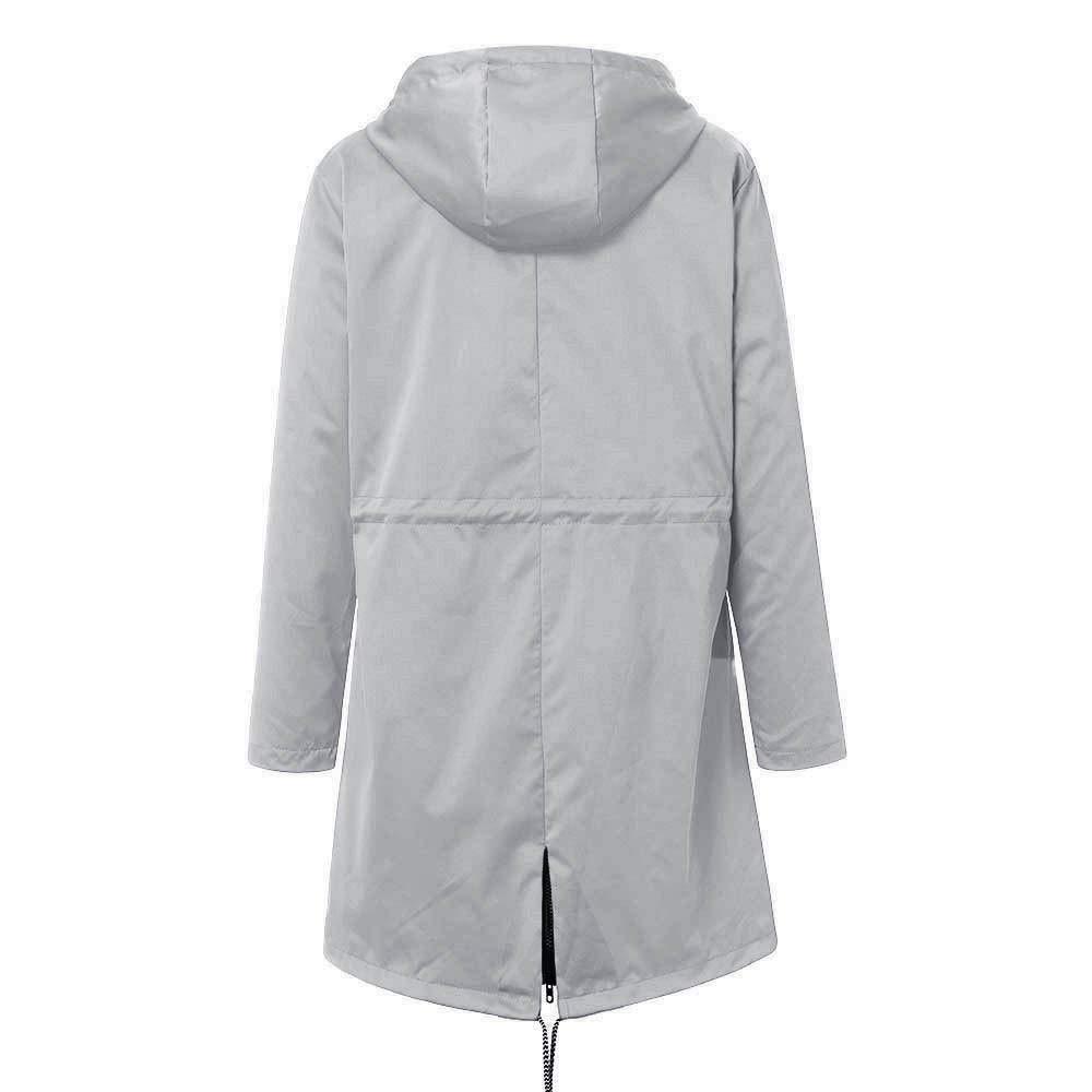 Veste De Pluie Solide pour Femmes ImperméAble Manteau à Capuche Long Femme Mode Femme Manteau De Pluie Raincoat Hoodie Vestes Waterproof Coupe-Vent Efanhouy Gris