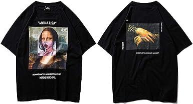 Verano Hip Hop Streetwear Hombres Funny Mona Lisa Camiseta Algodón ...