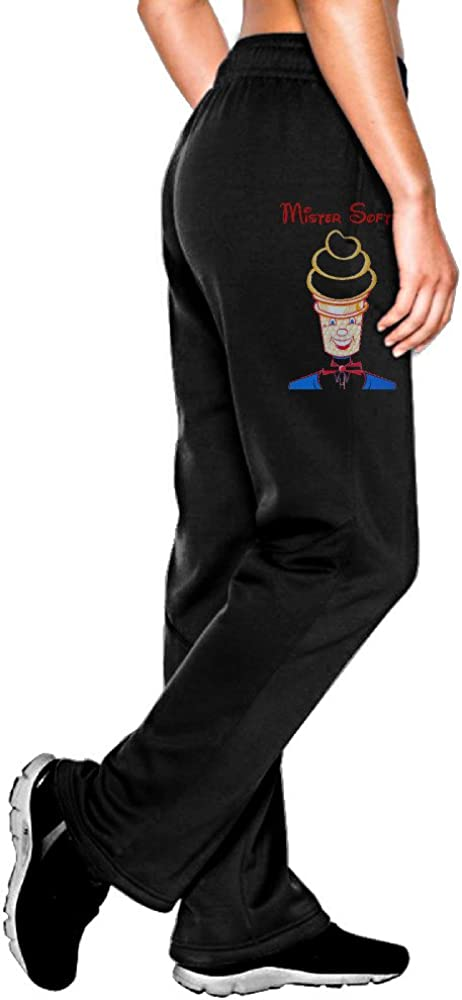 MEGGE Women's Mister Softee Drawstring Athletic Lounge Pant Black