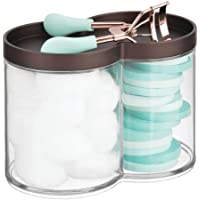 mDesign Plastic Bathroom Vanity Countertop Canister Jar with Storage Lid - Stackable - Divided, Double Compartment Organizer for Cotton Balls, Swabs, Bath Salts - Clear/Bronze
