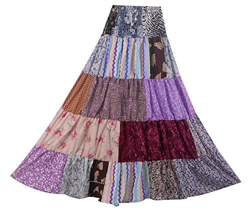 Bonya Women's Boho/Hippie Colorful Ruffle Patchwork Long Tiered Skirt - (Color124)