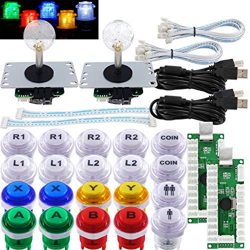 SJ@JX Arcade 2 Player Game Controller Stick DIY Kit LED Buttons with Logo MX Microswitch 8 Way Joystick USB Encoder Cable for PC MAME Raspberry Pi Color Mix (Color: Mix)