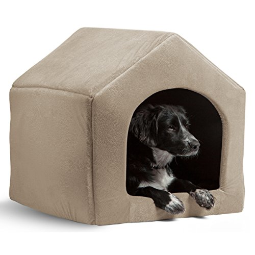PAWZ Road 2-in-1 Dog House Cat Bed Pet Sofa-Waterproof and Skid-Free Base Beige 17.3″x 15″x 15.4″