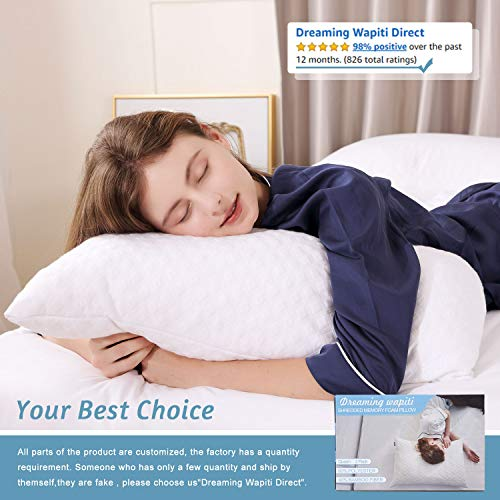 Dreaming Wapiti Pillows for Sleeping 2 Pack Shredded Memory Foam with Machine Washable Bamboo Cover