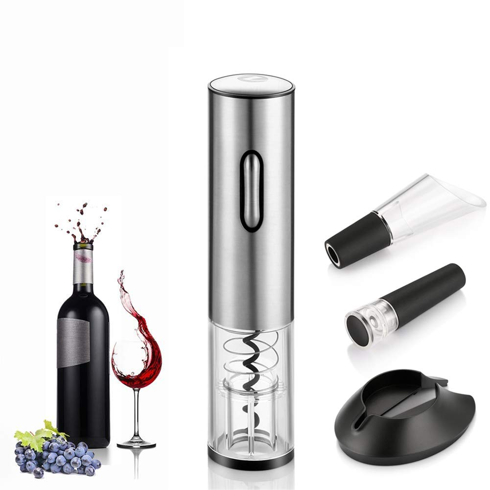 ZDYLM-Y Electric Wine Bottle Opener with Foil Cutter and USB Charging Cable Stainless Steel, for Home, Winery, Party, Bar