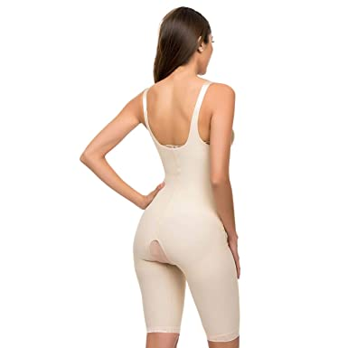 8e68e77c9 Isavela 2nd Stage Body Suit Mid Thigh Length W Suspender Closed Buttocks  Enhancing Compression Girdle (BE08) at Amazon Women s Clothing store