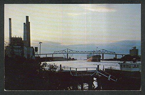 Savannah Harbor - Talmadge Bridge & Savannah Harbor Savannah GA postcard 1960s