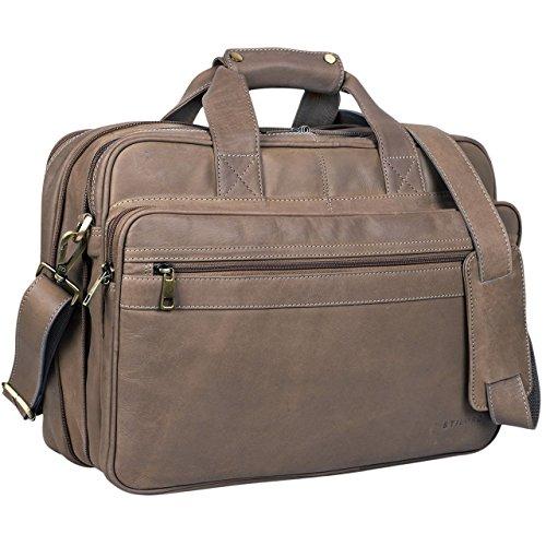 STILORD Vintage Bolso bandolera per hombres maletín College Bag Bolso de piel Bolso mensajero portátil de cuero auténtico de búfalo Gris - Marrón