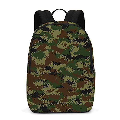 Camo Durable Backpack,Grunge Graphic Camouflage Summer Theme Armed Forces Uniform Inspired Dark for School - Forces Uniforms Armed