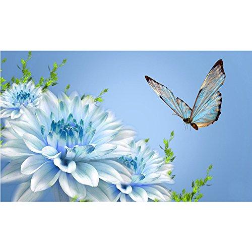 Diy 5D Diamond Painting Kit, Diamond Blue White Flowers?Embroidery Rhinestone Cross Stitch Arts Craft Supply For Home Wall Decor (11.8X23.6Inch)(Frameless) ()