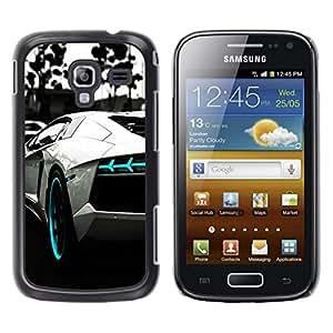 // PHONE CASE GIFT // Duro Estuche protector PC Cáscara Plástico Carcasa Funda Hard Protective Case for Samsung Galaxy Ace 2 / B&W BLUE AVENTADOR /
