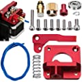 Sunhokey MK8 Extruder Upgraded Replacement,Aluminum Drive Feed 3D Printer Extruders Kit,CR10 Full Metal Remote Red Extruder, 1.75mm Filament,1M Dark Blue PTFE Teflon Bowden Tube?Right?