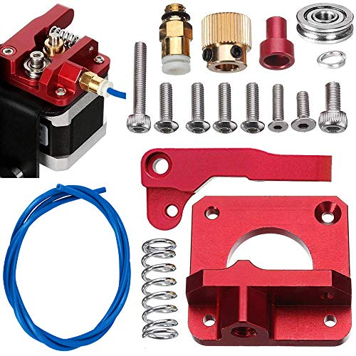 Sunhokey MK8 Extruder Upgraded Replacement, Aluminum Drive Feed 3D Printer Extruders Kit for Creality CR-10, CR-10S, CR-10 S4, CR-10 S5, RepRap Prusa i3, 1.75mm,1M Dark Blue PTFE TubeRight