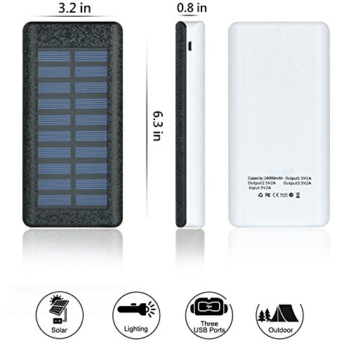 Solar Charger 24000mAh HuaF Power Bank Portable Charger Battery Pack With Dual Recharge Methods By Socket By Light For iPhone, iPad, Tablet, Samsung Galaxy, Android Phone And More by HuaF (Image #7)
