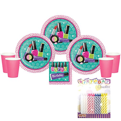 Sparkle Spa Makeup Party Supplies Pack Serves 16: Dinner Plates Luncheon Napkins and Cups with Birthday Candles - (Bundle for 16)]()