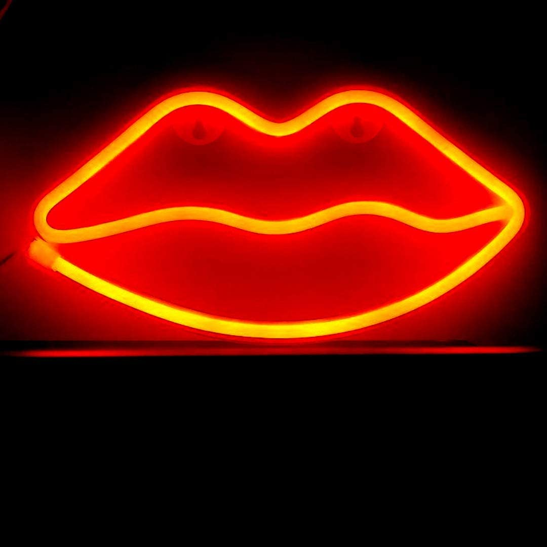 LED Neon Red Lips Sign, Wall Decor, Night Light, Table or Wall Decoration, USB and Battery Operated, Night Lights, Lamps Art Decor, Party, Bedroom, Living Room