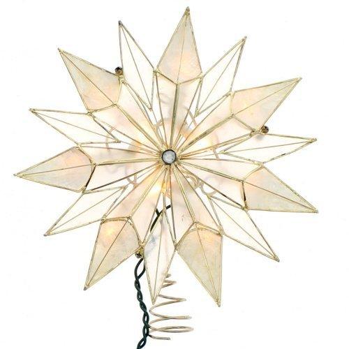 Kurt Adler UL 10-Light 14-Point Smoke Star Treetop, 9-Inch, Capiz