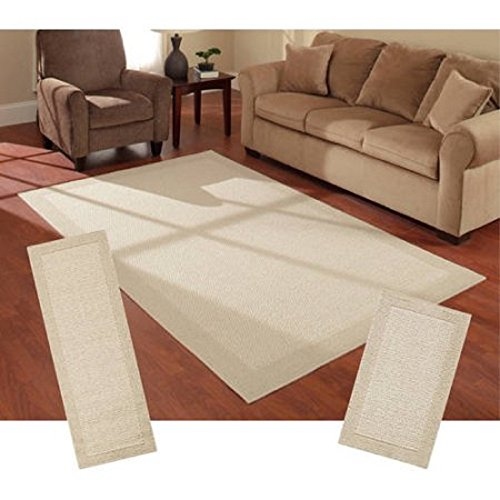 Faux Sisal Rug - Mainstays Stain and Fade Resistant Faux Sisal 3-Piece Area Rug Set (Tan)