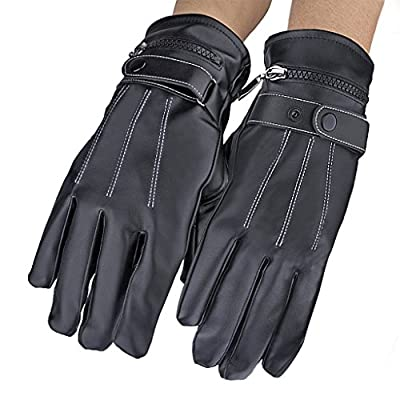 Lifemall GL Screen-Touch Gloves Leather Waterproof Gloves with Rechargeable Li-ion Battery Heated for Men and Women Keeping Warm in the Polar Climate.