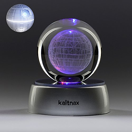 3D Laser Etched Crystal Ball 50Mm  Puzzle With Led Base  Death Star