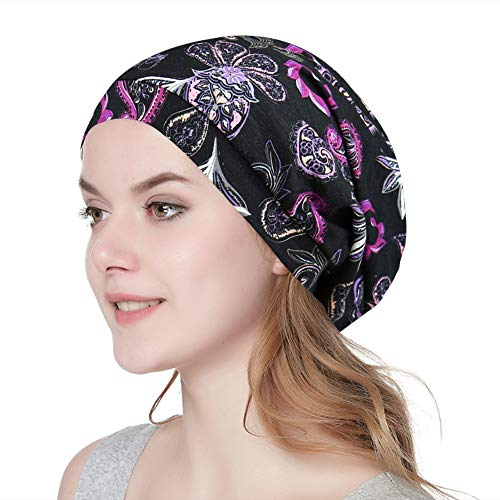 Alnorm Printed Slouch Chemo Beanie Cap Hat for Cancer Patients Unisex Purple Grey (Best Hats For Short Hair)