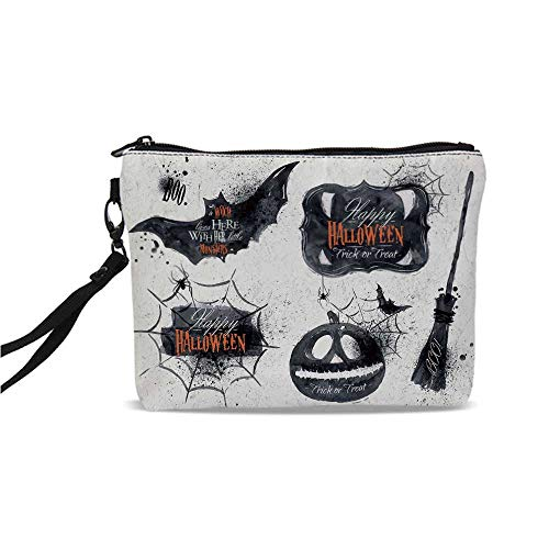 (Vintage Halloween Simple Cosmetic Bag,Halloween Symbols Happy Holiday Witch Lives Here Broomstick Spider Web Decorative for Women,9