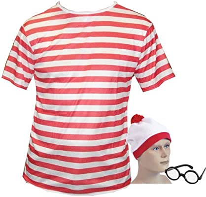 Large Fancy Dress T Shirt Red & White Stripped Top, Hat & Glasses ...