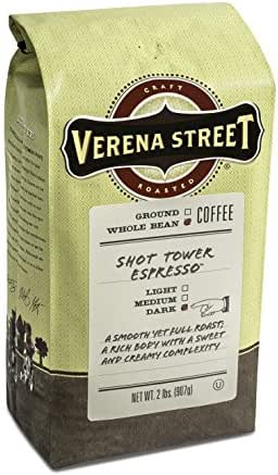 Verena Street 2 Pound Espresso Beans, Shot Tower Espresso Whole Bean, Rainforest Alliance Certified Arabica Coffee