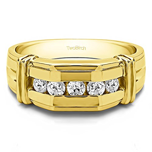 10k Yellow gold Mens Fashion Ring Charles Colvard Moissanite(0.32Ct)Size 3 To 15 in 1/4 Size Intervals