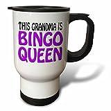 Funny Travel Mug with Handle This Grandma Is Bingo Queen Purple Unique Travel Mugs for Coffee Tea 14oz Mug Gifts for Women Men