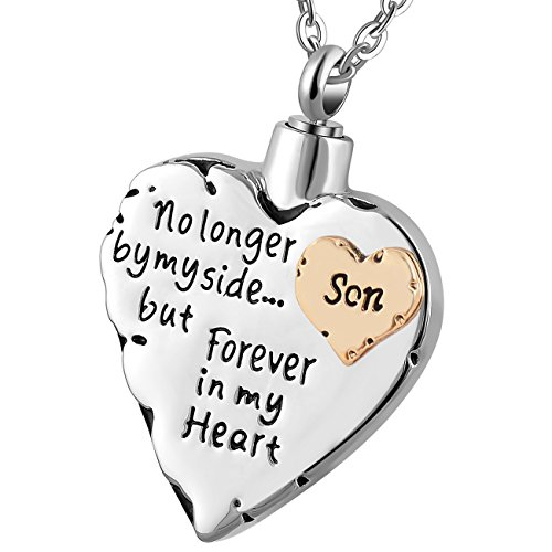 memorial necklace for mom,dad,pet,no longer by my side forever in my heart cremation pendant jewelry (Son) - Cremation Memorial