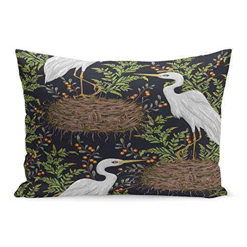 Semtomn Throw Pillow Covers Animal Heron Bird Nest and Swamp Plants Marsh Flora Fauna Vintage in Watercolor Asian Pillow Case Cushion Cover Lumbar Pillowcase for Couch Sofa 20 x 30 inchs