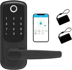 5-in-1 Smart Dore Lock,Arcwares Fingerprint Door Lock with Reversible Handle,Digital Keypad Lock for Home,Office,House Rental,Use APP,IC Card,Anti-peep Door Lock Handle (Black)