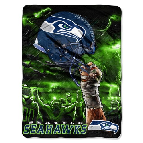 NFL Seattle Seahawks 60-Inch-by-80-Inch Plush Rachel Blanket, Sky Helmet Design ()